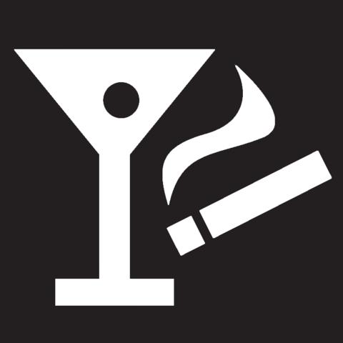 Tecknad bild på ett drinkglas och en cigarett.