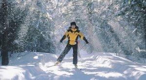 Kvinna som åker längdskidor genom skogen. En träningsform som ska vara bra mot stress.