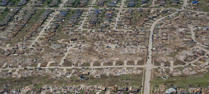 Ödelagd stad efter en naturkatastrof