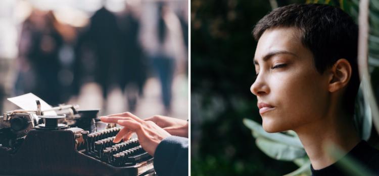 En bild på en skrivmaskin och en sidobild av kvinna