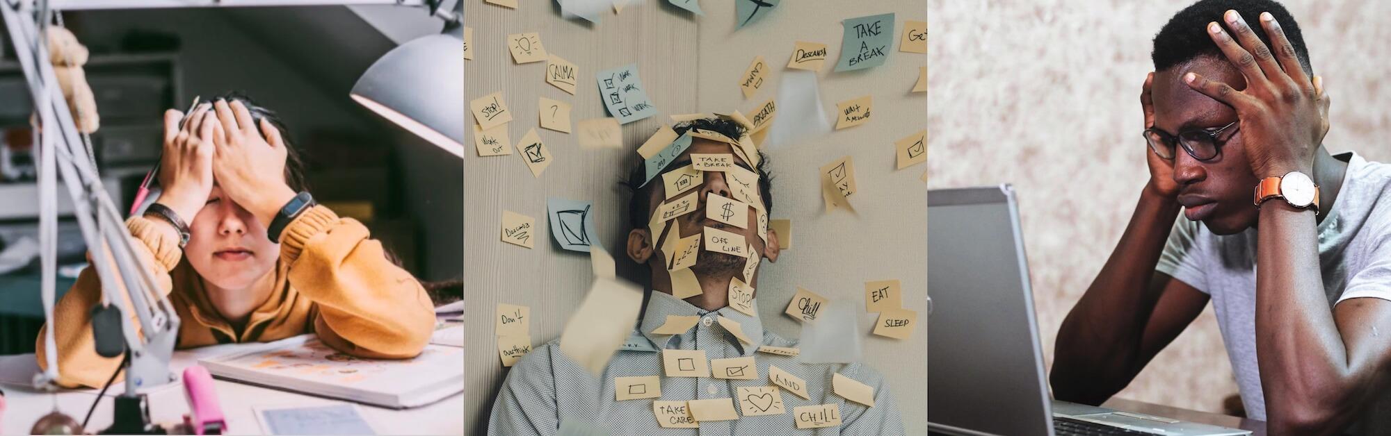 Montage av stressade personer