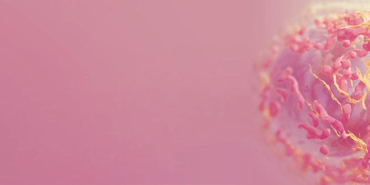 Melanomcell med rosa bakgrund
