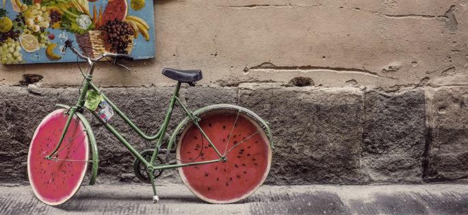 En cykel som på ett roligt sätt ska representera en menscykel.