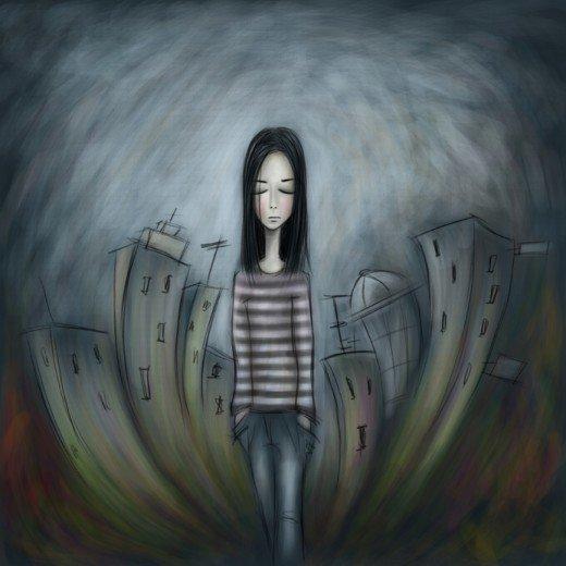 Målning av en flicka med ångest.